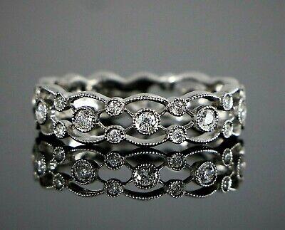 Ancora Designs 14K White Gold Round Bezel Set Diamond Milgrain Band 6.5 (Bezel 14k White Gold Band)