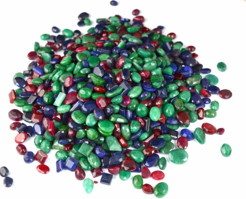 102-5002 Ct. Natural Mix Emerald, Ruby & Sapphire Loose Gemstone Wholesale Lot