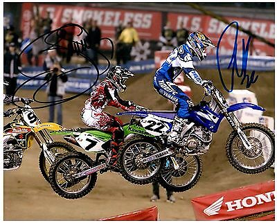"""CHAD REED & JAMES """"BUBBA"""" STEWART dual Signed SUPERCROSS Motocross 8x10 Photo D"""