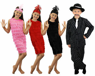 1920 Kinder Kostüme (KINDER VERKLEIDUNG CHARLESTON 1920er KOSTÜM MÄDCHEN FLAPPER UND JUNGEN GANGSTER )