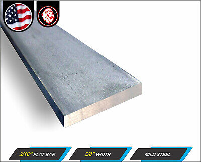 316 X 58 Flat Bar - Mild Steel - Metal Stock - Plain Finish - 12 Long
