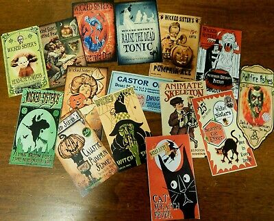 15 Halloween Vintage prim Witch Apothecary potion bottle Label stickers Series 1 - Witch Potion