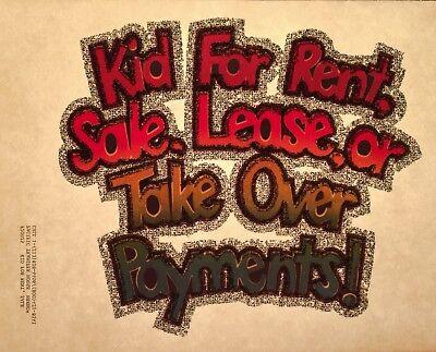 VTG 70s kid for rent girl boy funny humor 80s nos Dazed Confused t-shirt Iron-On