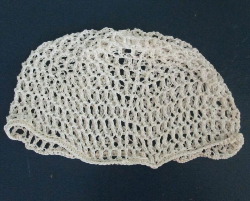 Hand made crocheted nylon historic replica white snood detailed  adult size