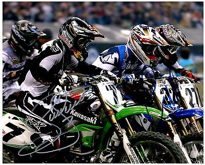 """CHAD REED & JAMES """"BUBBA"""" STEWART dual Signed SUPERCROSS Motocross 8x10 Photo A"""