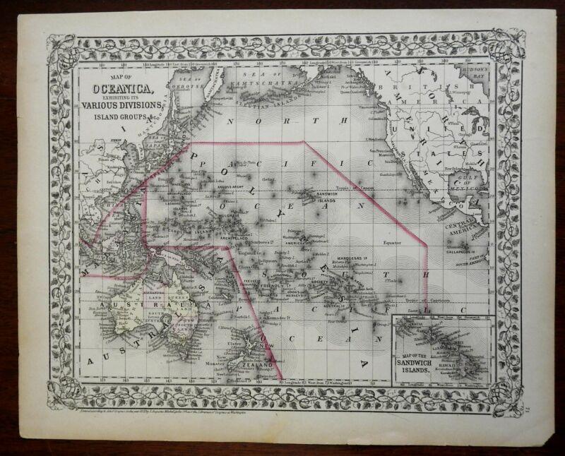 Oceania Australia New Zealand Malaysia Polynesia Indonesia 1872 Mitchell map