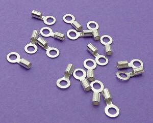 1.5mm Loop & 0.9mm Internal Crimp Dia 925 Sterling Silver Chain End Cap Crimp 6