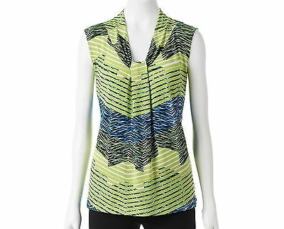 Dana Buchman Knot Front V-Neck Top Wild Lime Blue Print XS S M L XL 2XL NEW $30