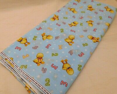 Daisy Kingdom Blue Jean Teddy 1 2 3 Cotton Fabric Baby Chicks on Blue (Blue Jean Teddy Curtain)