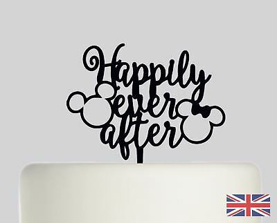 Happily Ever After Mickey Mouse Cake Acrylic Wedding Cake Topper - Mickey Mouse Wedding Cake Topper