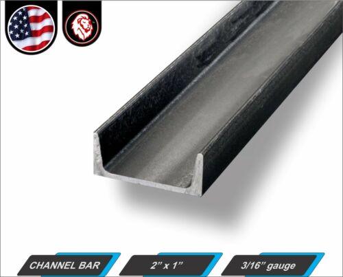 """2"""" x 1"""" Channel Bar - 3/16"""" gauge - Mild Steel - 48"""" inch Long (4-ft)"""
