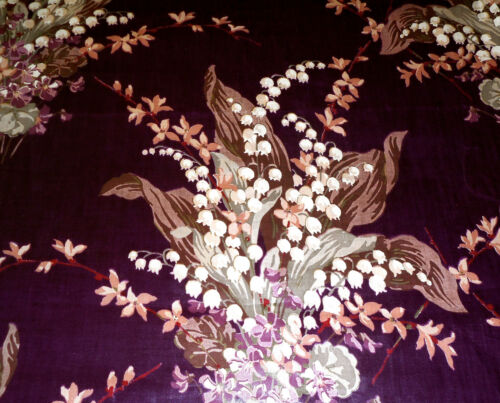 Antique Vintage Lily of the Valley Floral Chintz Fabric ~ Eggplant Purple Sage