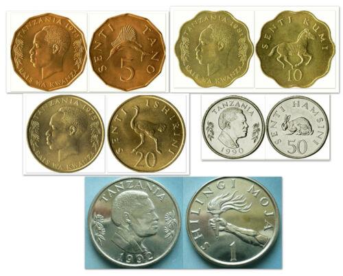 Tanzania 5 & 10 & 20 & 50 Senti & 1 Shillingi 5 Uncirculated Coin Set