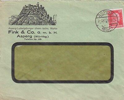 ASPERG, Briefumschlag 1926, Fink & C. GmbH chem.-technische Werke