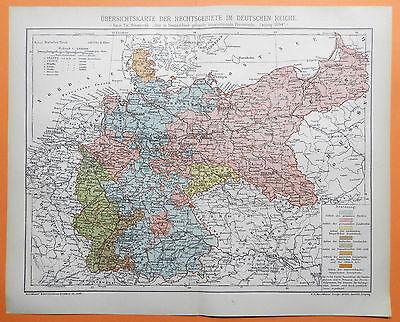 Rechtsgebiete Deutsches Reich DR  Geschichtskarte Landkarte aus 1895