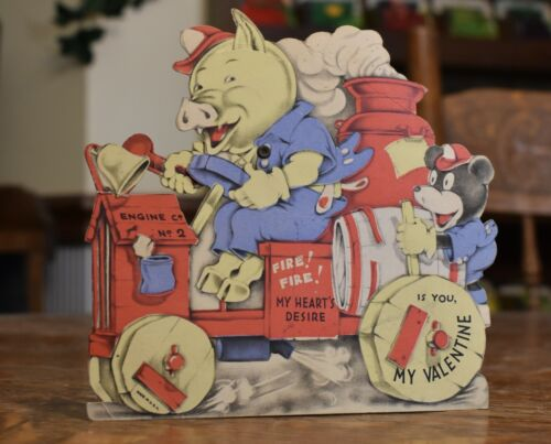 vintage antique Valentine card, unusual PIG in Fire Truck, arm moves, rare odd