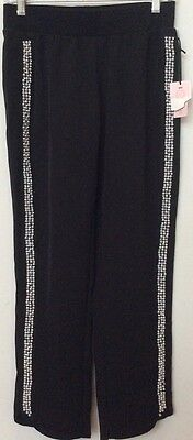 NWT Juicy Couture Women's Beaded Trim Casual /Yoga/Track Stretch Black Pant Sz (Bead Track)