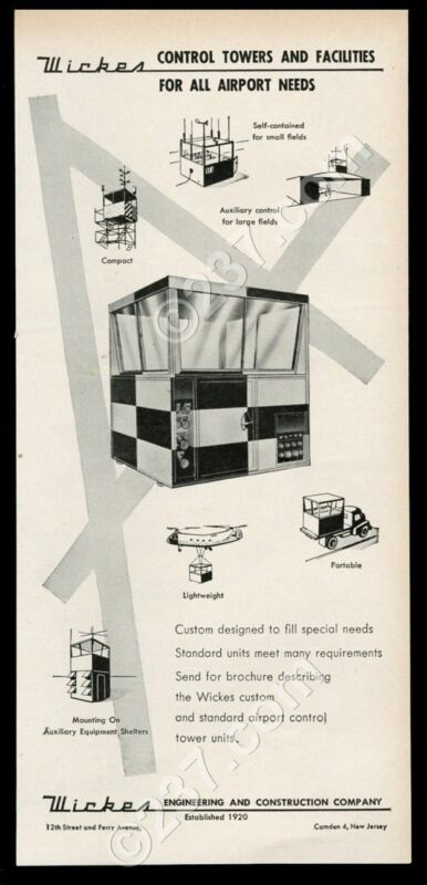 1957 Wickes portable airport control tower photo unusual vintage print ad