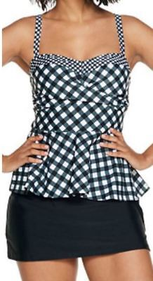 Isaac Mizrahi Live!~Gingham Tankini Top with Skirt~A303530