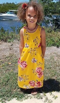 Girls Floral Yellow Maxi Dress