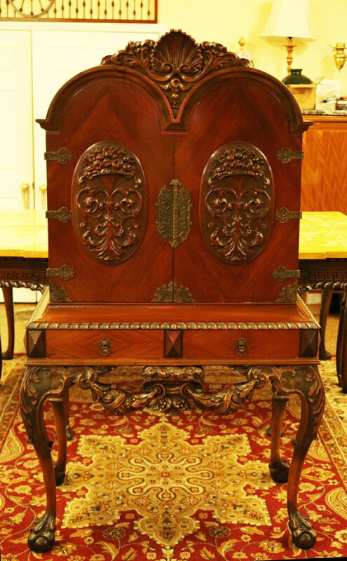 Nicely Carved Early 20th century Walnut Blind Door China Liquor Cabinet