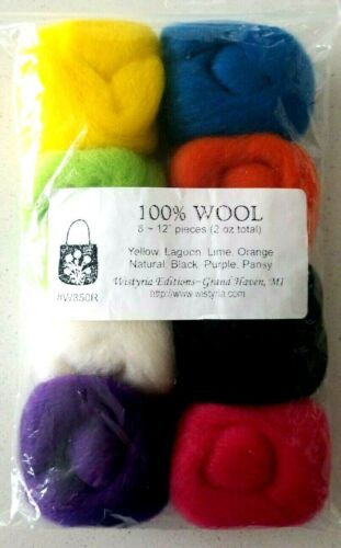 Wistyria Editions Wool Roving Yellow Lagoon Lime Orange Black Purple Pansy Nat..