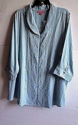 Woman Within 2X Aqua Rolled V Neck 7 Button Crinkle Woven Tunic Cotton 3 4 Nwt