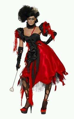 Evil Queen Of Hearts Halloween (Smiffy's Ladies Evil Queen of Hearts Halloween Fancy Dress Costume Size S 8-10)