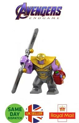 Avengers Thanos Lego Mini Figure Red Gauntlet Sword Marvel End Game Uk Seller