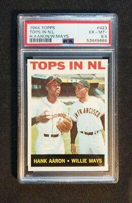 1964 Topps #423 Tops in NL Hank Aaron Willie Mays PSA 6.5 EX-MT+