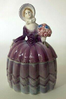 Porcelain Doll Powder Jar Covered Dresser Trinket Box Germany Circa 1910