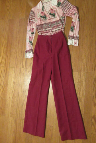 Vintage 70s Super High Waist Poly Bell Bottoms Burgundy Disco Pants 7