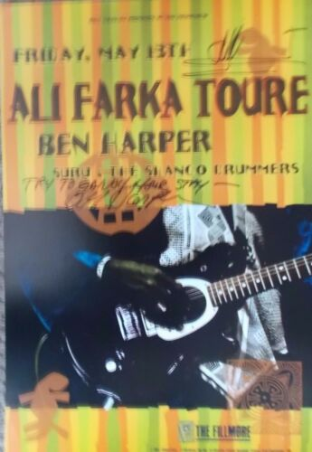 ALI FARKA TOURE & BEN HARPER FILLMORE POSTER Signed By ALI & BEN ORIGINAL Graham