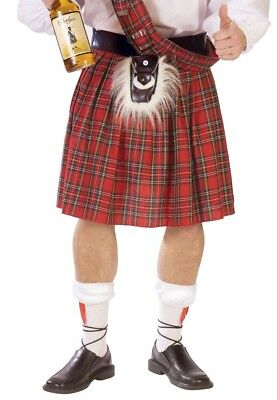 Scottish Kilt Red Tartan Plaid Skirt Adult Mens Costume Accessory Scottie Scot