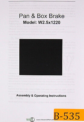 Birmingham Import W2.5 X 1220 Pan And Box Brake Assembly And Operations Manual