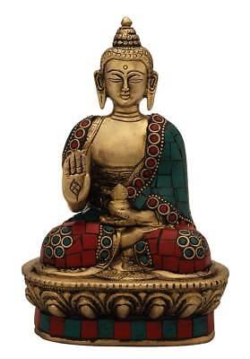 Brass Sitting Bronze Buddha Statue Tibet Chinese Buddhist Medicine Sculpture 7