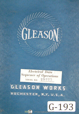 Gleason 24 26 Generator Rougher Electric Data Sequence Of Operations Manual