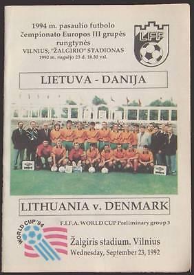 SEPTEMBER 23, 1992 LITHUANIA VS DENMARK WORLD CUP PRELIMINARY  SOCCER PROGRAM