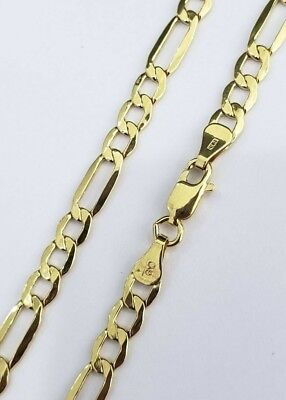 100% Real 10k Yellow Gold Figaro Link Chain Necklace 5MM 22