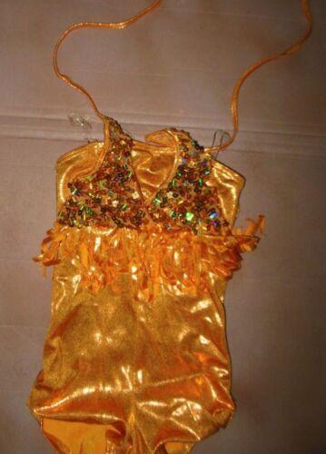 NWOT Small ch Orange Sequin shorty uni fringie Jazz Dance Costume foil spandex