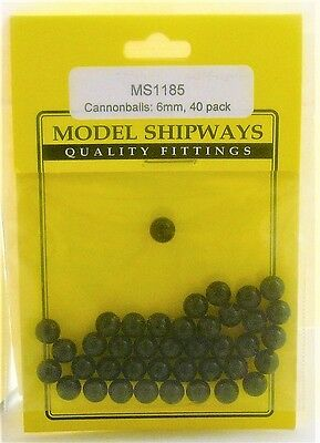 "Model Shipways Fittings MS 1185 Black Cannonballs 1/4"" (6mm) 40 Per Pack. NEW."