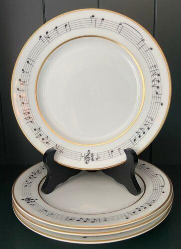 "Rare Vtg Tiffany & Co. Moon River 8"" Plates Henry Mancini Music Notes Set of 4"