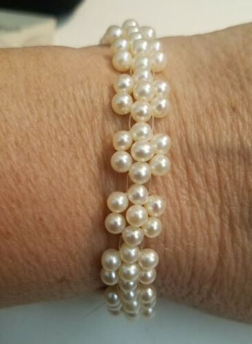 """New Honora Cultured Pearl 7"""" Bracelet Floaters on MicroCord Shaped into Flowers"""
