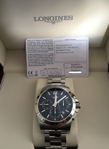 Longines Chronograph Black Dial Stainless Steel Men's Watch Burwood Whitehorse Area Preview