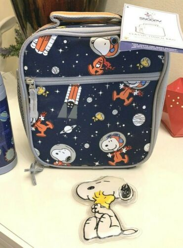 Pottery Barn Peanuts Snoopy Space LUNCH BOX +ICE pack bag school boy girl school