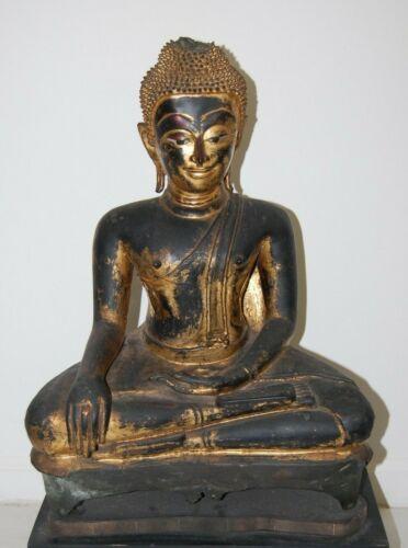 Vintage Gilded Bronze Statue Buddha Maravijaya Diety God Siam Thailand Bangkok