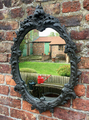 Pretty Plaster Rococo Design Vintage Painted Wall Hanging Mirror.