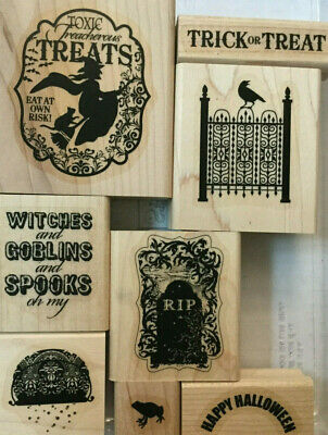 Halloween Broom Treats (Toxic Treats Rubber Stamps Halloween Wood Mount Witch Cat Broom R I P Stampin)