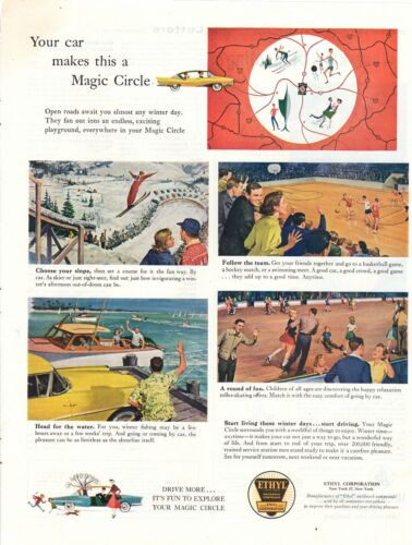 Vintage advertising print Car Gas Oil Ethyl Corp Magic Circle Skier  Ski Slope