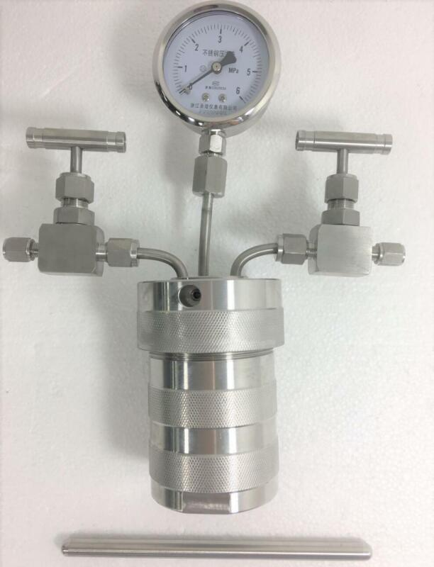 Hydrothermal synthesis Autoclave Reactor vessel + inlet outlet gauge 25ml 6Mpa Y